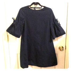ZARA NAVY SHIRT DRESS W/BELL SLEEVES